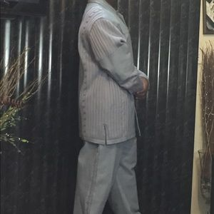 Men's 2 pc powder blue leather suit